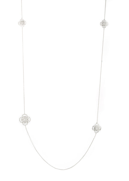 Art Deco motif stationed long necklace, White gold finish