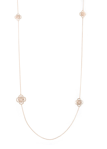 Art Deco motif stationed long necklace, Rose gold finish