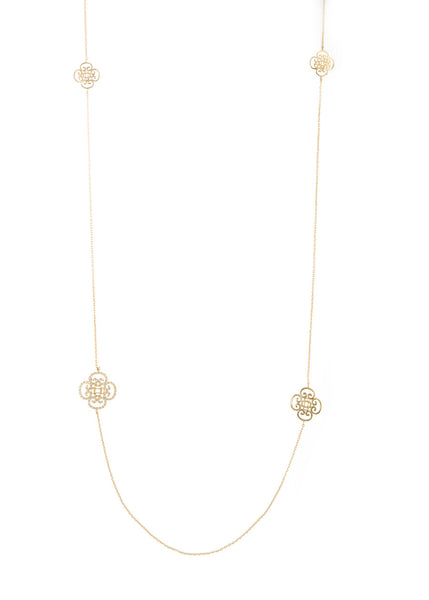 Art Deco motif stationed long necklace, Gold finish