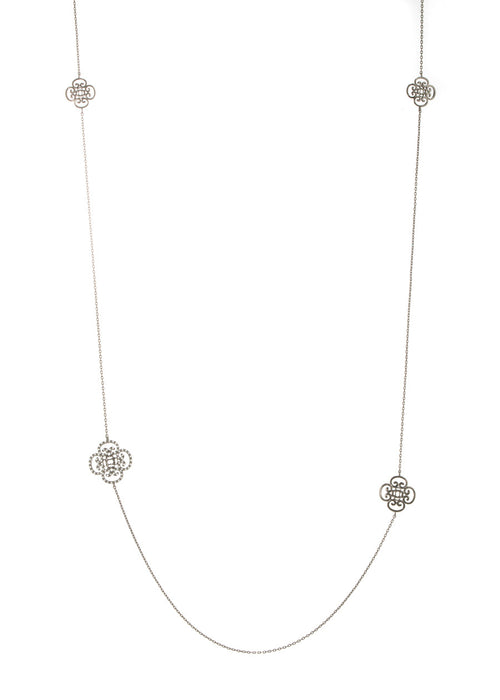 Art Deco motif stationed long necklace, Gunmetal finish