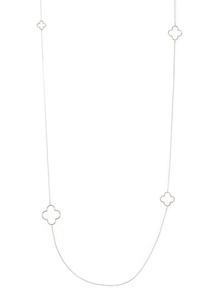 Open clover motif stationed long necklace, White gold finish