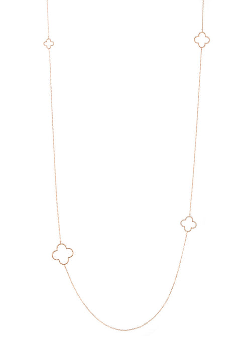 Open clover motif stationed long necklace, Rose gold finish