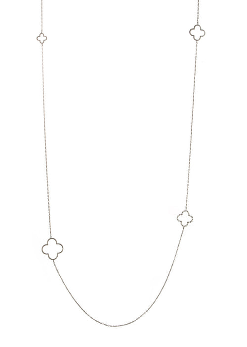 Open clover motif stationed long necklace, Gunmetal finish