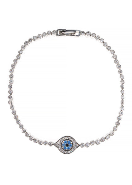 The evil eye hand set micropave high quality CZ eternity bracelet, White Gold finish