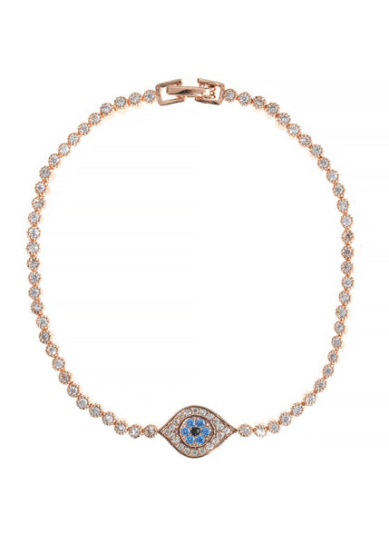 The evil eye hand set micropave high quality CZ eternity bracelet, Rose Gold finish