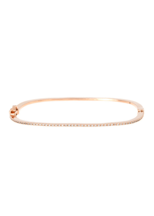 Thin and simple polished rounded square bangle in hand set micropave high quality CZ, great for layering, Rose Gold finish