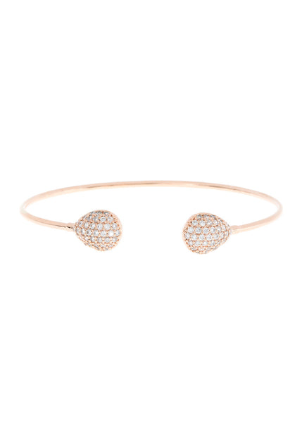 Thin and simple polished two teardrop open bangle in hand set micropave high quality CZ, great for layering, Rose Gold finish