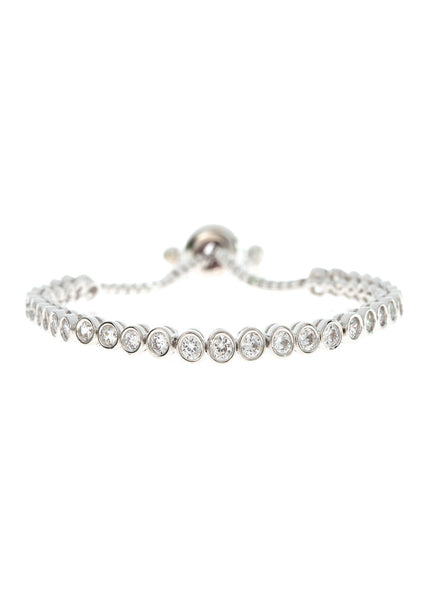 Thirty five 0.1 ct bezel set high quality CZ eternity bracelet with adjustable pull ring, White Gold finish