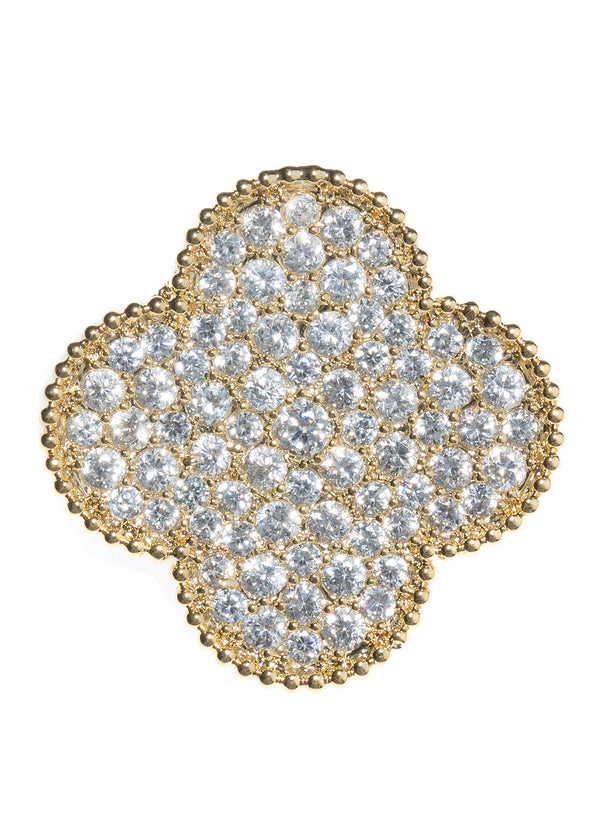 Large clover brooch hand set in micro pave high quality CZ, Gold finish