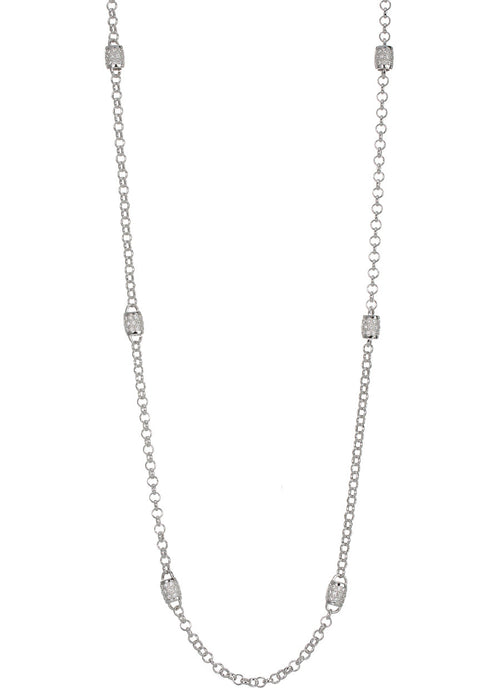 Eight barrel motif stationed long strand necklace with  hand set in micro pave high quality CZ, White Gold finish