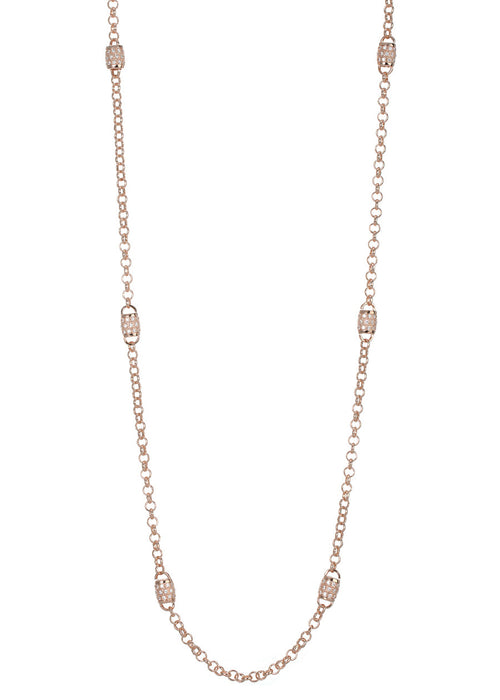 Eight barrel motif stationed long strand necklace with  hand set in micro pave high quality CZ, Rose Gold finish