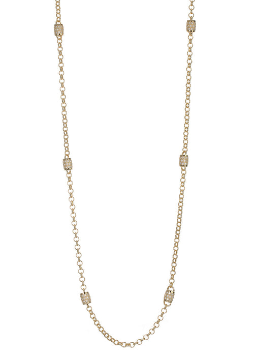 Eight barrel motif stationed long strand necklace with  hand set in micro pave high quality CZ, Gold finish