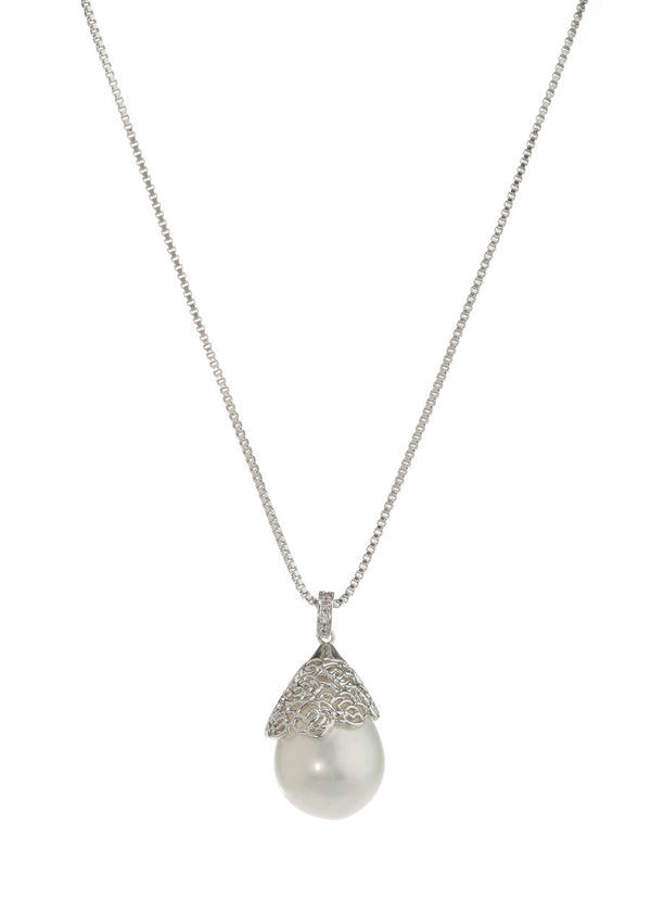 Baroque shell pearl pendant necklace, White gold finish