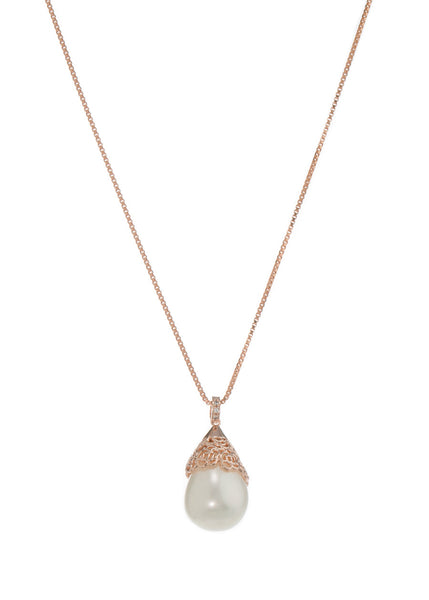 Baroque shell pearl pendant necklace, Rose gold finish