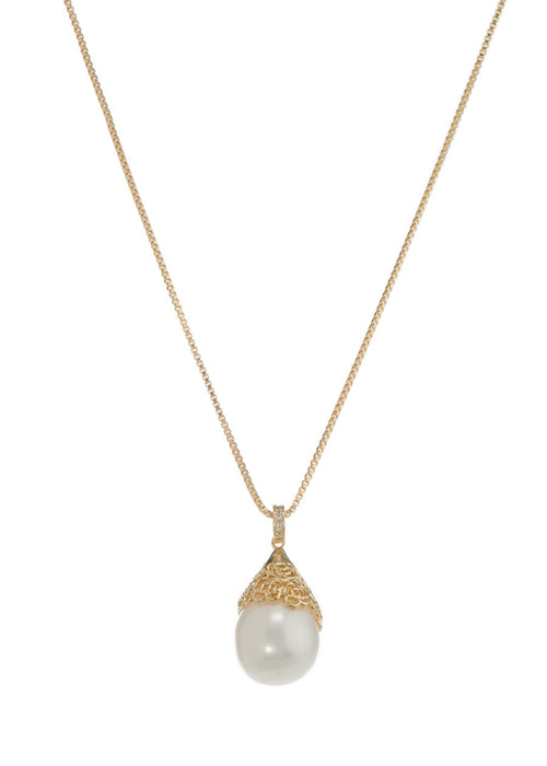 Baroque shell pearl pendant necklace, Gold finish