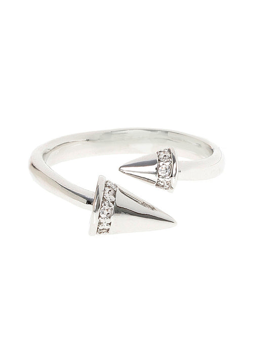 Handset high quality CZ accented Spike adjustable ring, White Gold finish