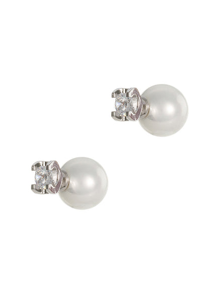 0.5 Ct round high quality CZ and Shell pearl Rophia earring, White Gold finish