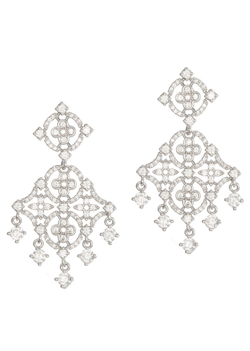 The goddess of light chandelier earrings with hand set micro pave high quality CZ, White Gold finish