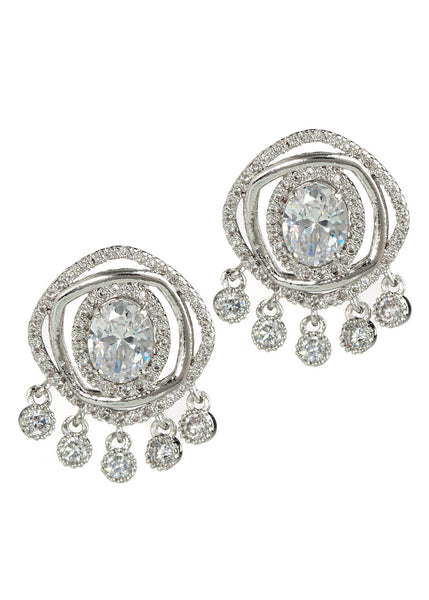 Halo Oval cut CZ centered double ring with five antique hand set high quality CZ drop earrings, White Gold finish