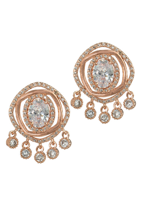 Halo Oval cut CZ centered double ring with five antique hand set high quality CZ drop earrings, Rose Gold finish