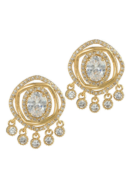 Halo Oval cut CZ centered double ring with five antique hand set high quality CZ drop earrings, Gold finish