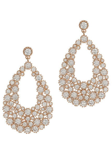 Individual antique prong hand set high quality CZ oval drop earrings, Rose Gold finish