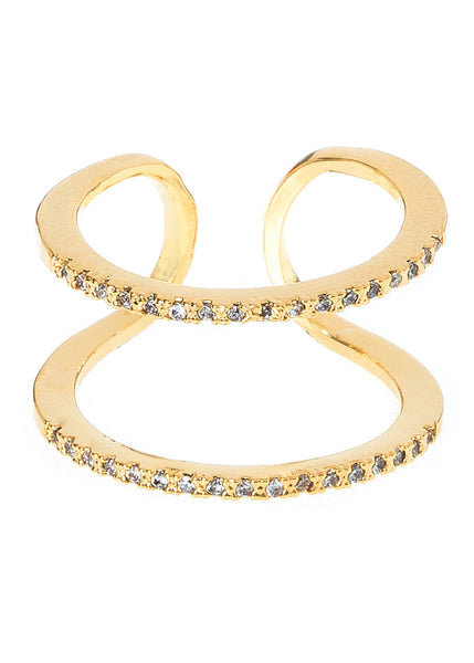 Delicate twin band handset micropave high quality CZ adjustable ring, great with any Midi or Pinky, Gold finish