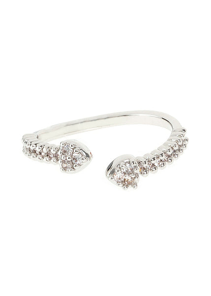 Facing Cupid's arrows handset micropave high quality CZ adjustable ring, great  for Midi or Pinky, White gold finish