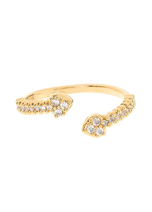 Facing Cupid's arrows handset micropave high quality CZ adjustable ring, great  for Midi or Pinky, Gold finish