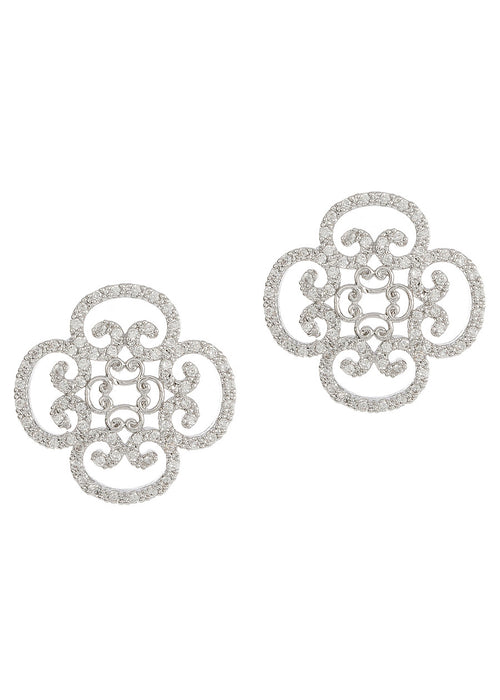 Art Deco motif stud earrings with hand set micro pave high quality CZ, White Gold finish