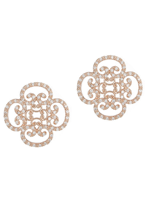 Art Deco motif stud earrings with hand set micro pave high quality CZ, Rose Gold finish