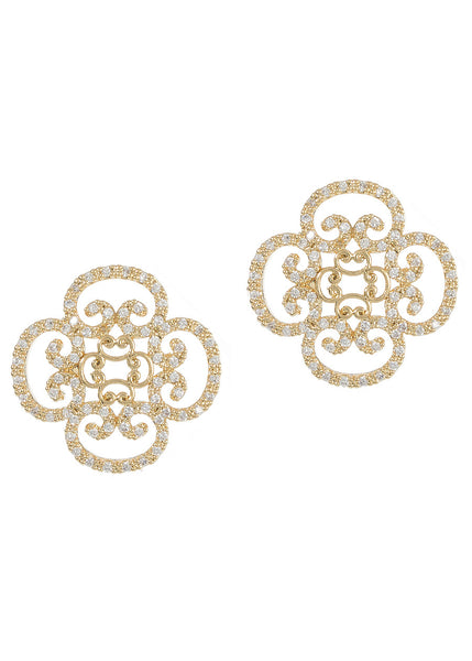 Art Deco motif stud earrings with hand set micro pave high quality CZ, Gold finish