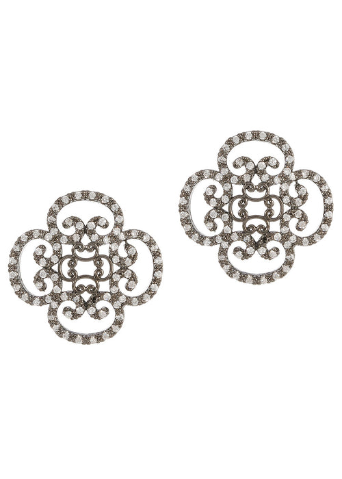 Art Deco motif stud earrings with hand set micro pave high quality CZ, Gun metal finish
