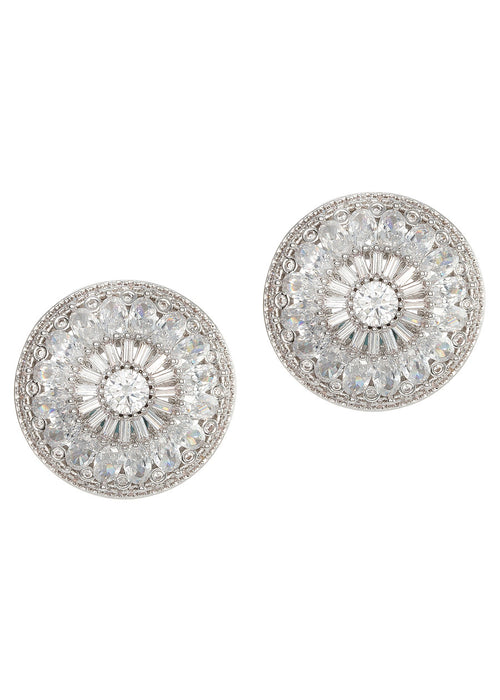 Vintage Glam stud earrings with hand set high quality CZ, White Gold finish