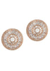 Vintage Glam stud earrings with hand set high quality CZ, Rose Gold finish