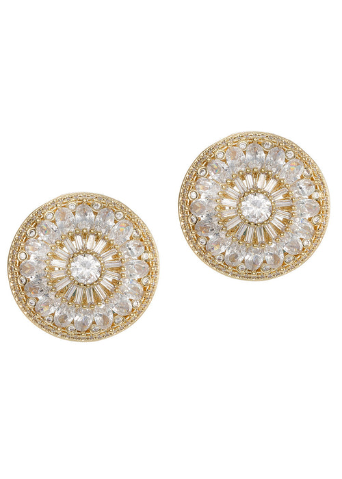 Vintage Glam stud earrings with hand set high quality CZ, Gold finish