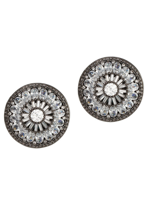 Vintage Glam stud earrings with hand set high quality CZ, Gun metal finish