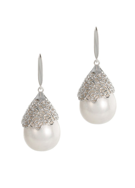 Baroque shell pearl pierced clip earrings, White gold finish