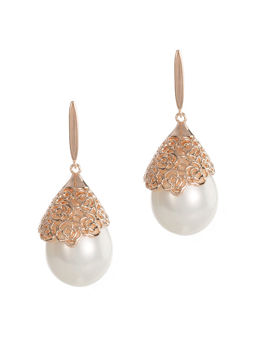 Baroque shell pearl pierced clip earrings, Rose gold finish