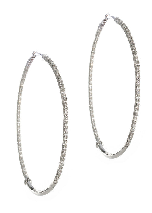 Ultra thin inside out hand set micro pave high quality CZ hoop, White gold finish