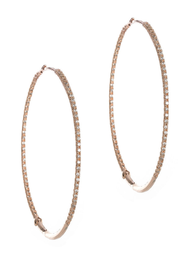 Ultra thin inside out hand set micro pave high quality CZ hoop, Rose gold finish