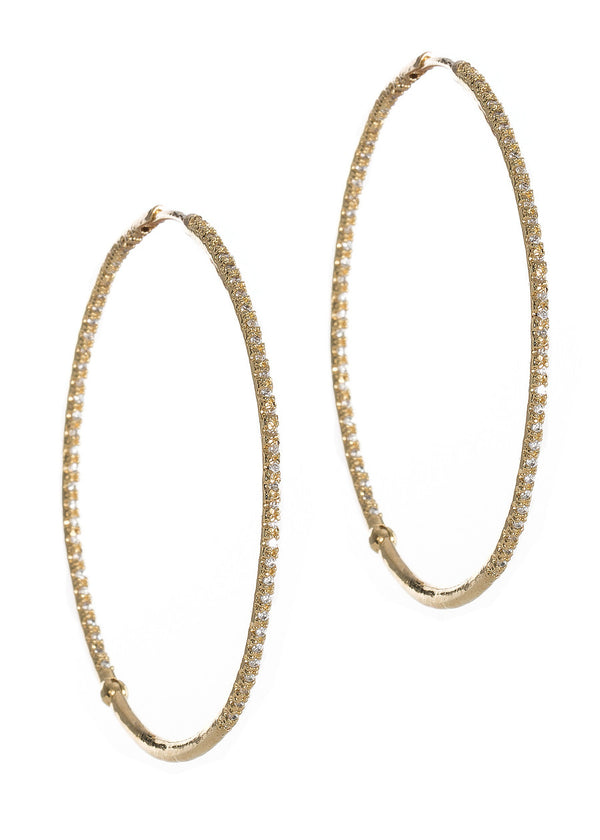 Ultra thin inside out hand set micro pave high quality CZ hoop, Gold finish