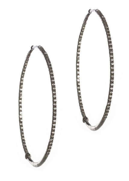 Ultra thin inside out hand set micro pave high quality CZ hoop, Gun metal finish