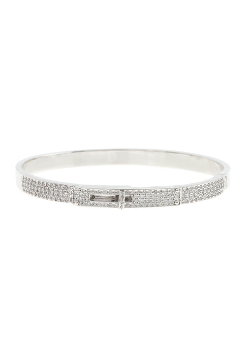Haute Couture hand cuff bangle with hand set micro pave high quality CZ, White Gold finish