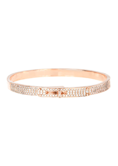 Haute Couture hand cuff bangle with hand set micro pave high quality CZ, Rose Gold finish