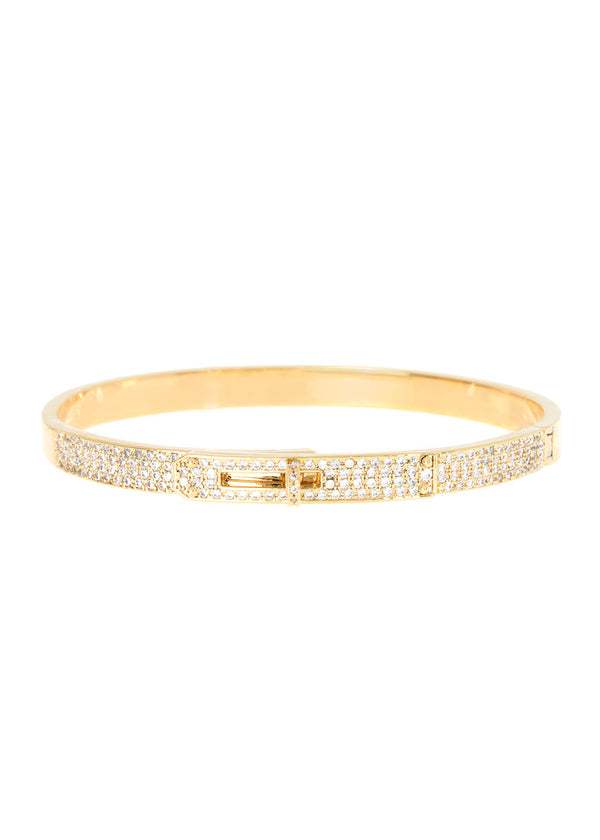 Haute Couture hand cuff bangle with hand set micro pave high quality CZ, Gold finish
