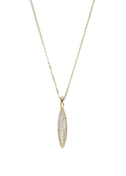 Hand set Micro pave high quality CZ fluted spear short necklace, Gold finish