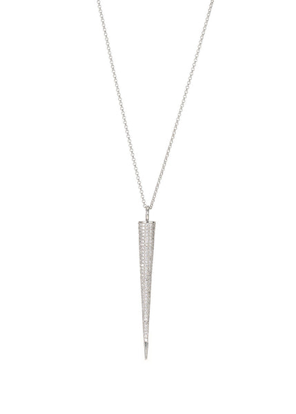 Titaness pendant long strand necklace with hand set micro pave high quality CZ, White gold finish