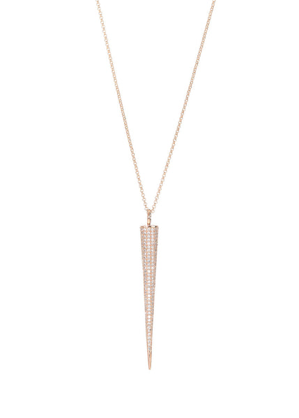 Titaness pendant long strand necklace with hand set micro pave high quality CZ, Rose gold finish