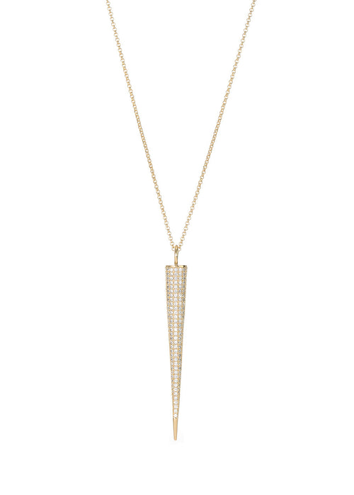 Titaness pendant long strand necklace with hand set micro pave high quality CZ, Gold finish